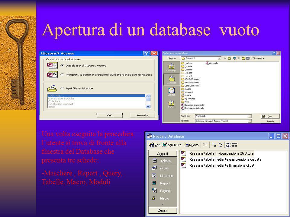 Apertura di un database vuoto