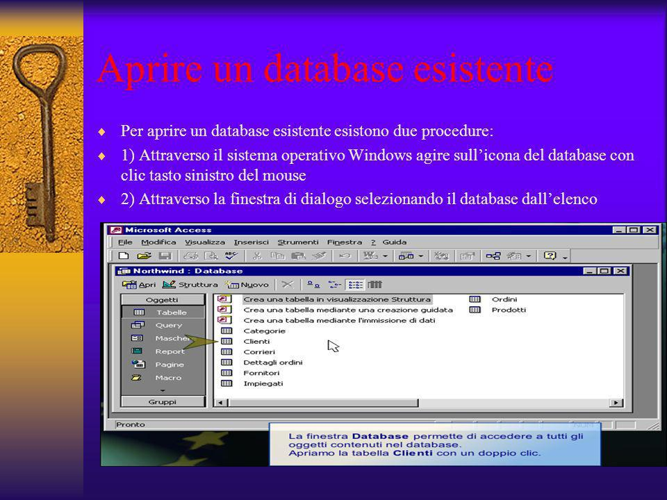 Aprire un database esistente