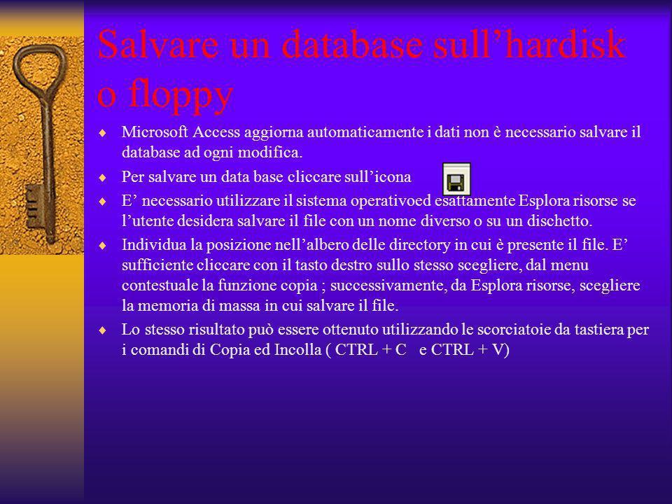 Salvare un database sull'hardisk o floppy