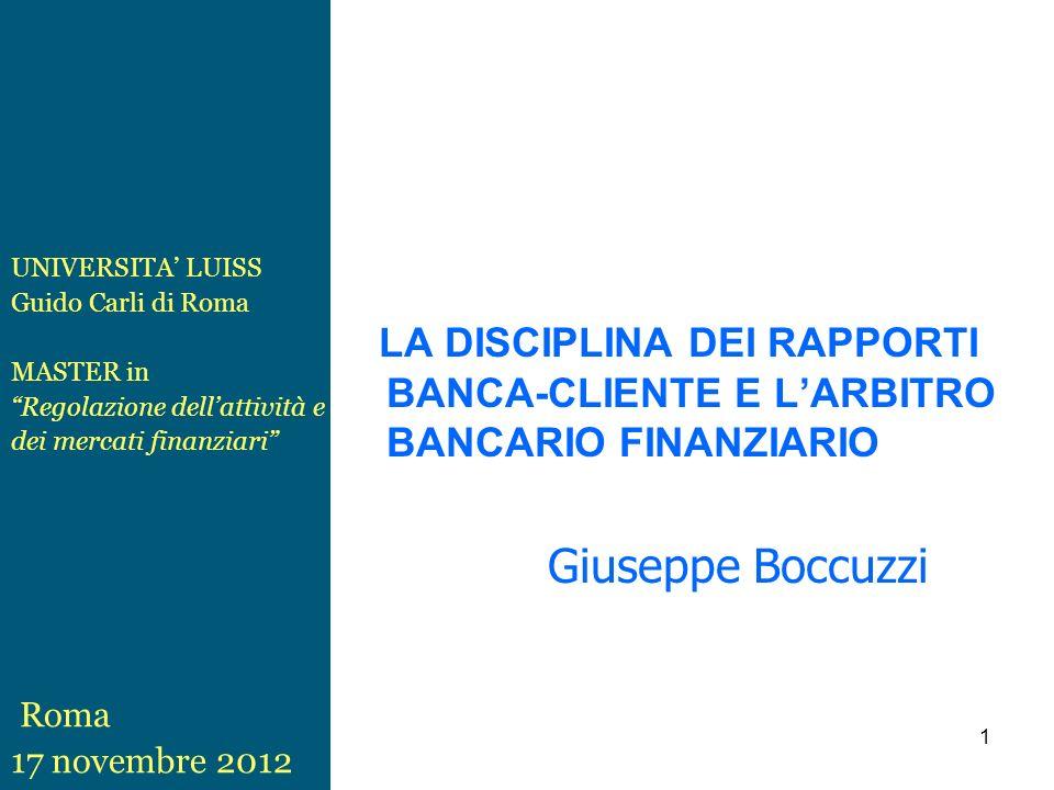 UNIVERSITA' LUISS Guido Carli di Roma. MASTER in. Regolazione dell'attività e. dei mercati finanziari
