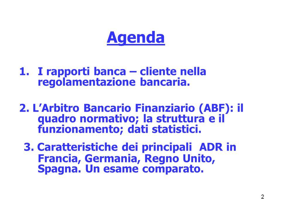 Agenda I rapporti banca – cliente nella regolamentazione bancaria.