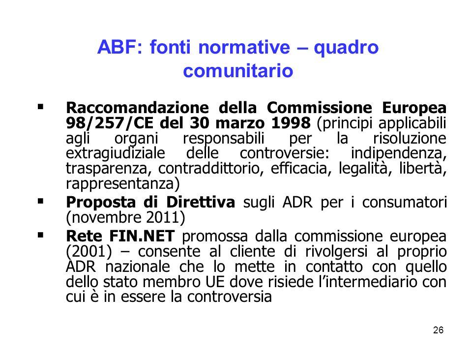 ABF: fonti normative – quadro comunitario