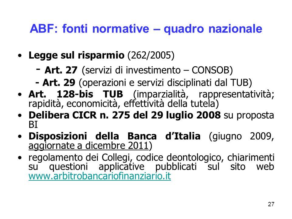 ABF: fonti normative – quadro nazionale