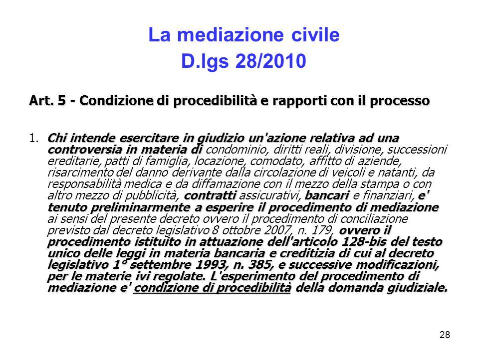 La mediazione civile D.lgs 28/2010