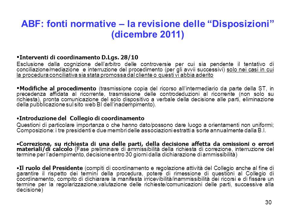 ABF: fonti normative – la revisione delle Disposizioni
