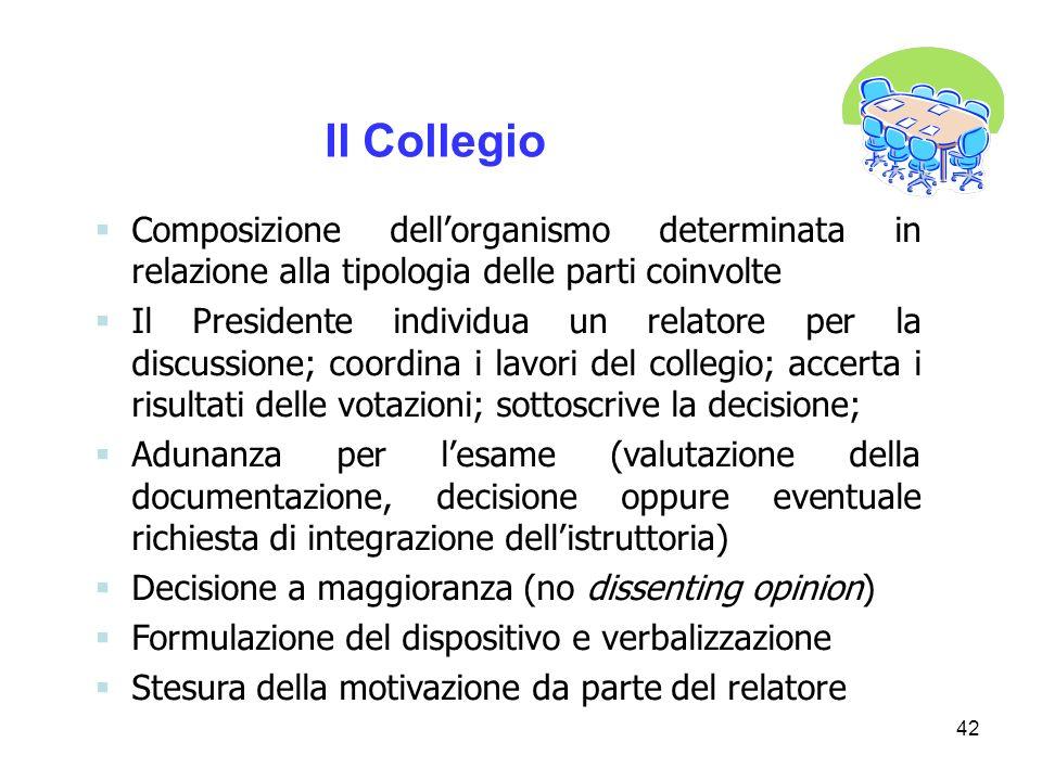 Il Collegio Composizione dell'organismo determinata in relazione alla tipologia delle parti coinvolte.