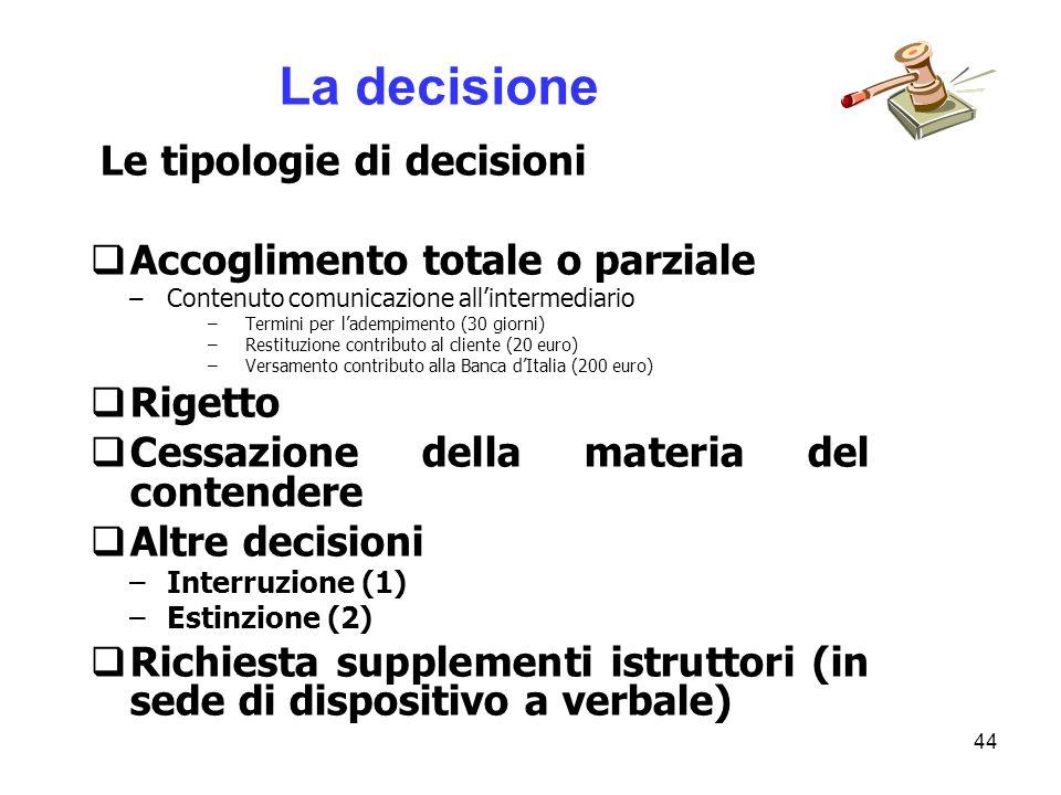 La decisione Accoglimento totale o parziale Rigetto