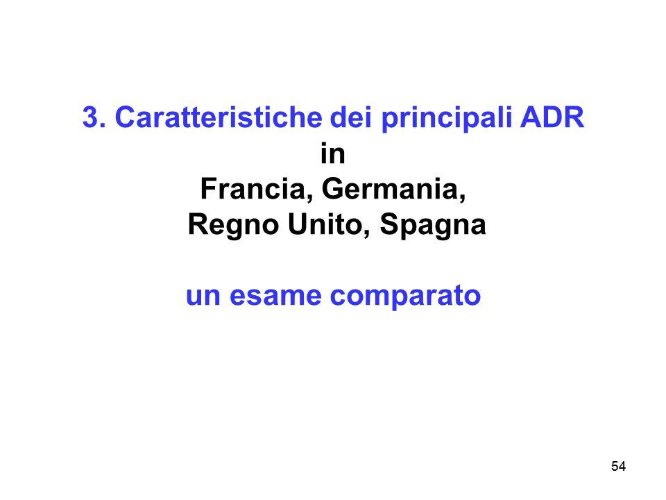 3. Caratteristiche dei principali ADR in Francia, Germania, Regno Unito, Spagna un esame comparato