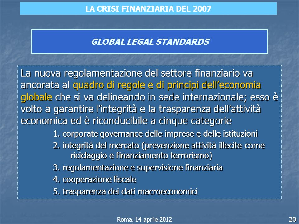 GLOBAL LEGAL STANDARDS
