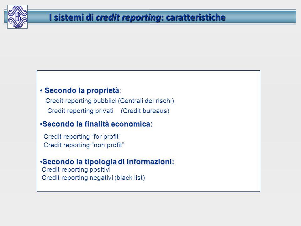 I sistemi di credit reporting: caratteristiche