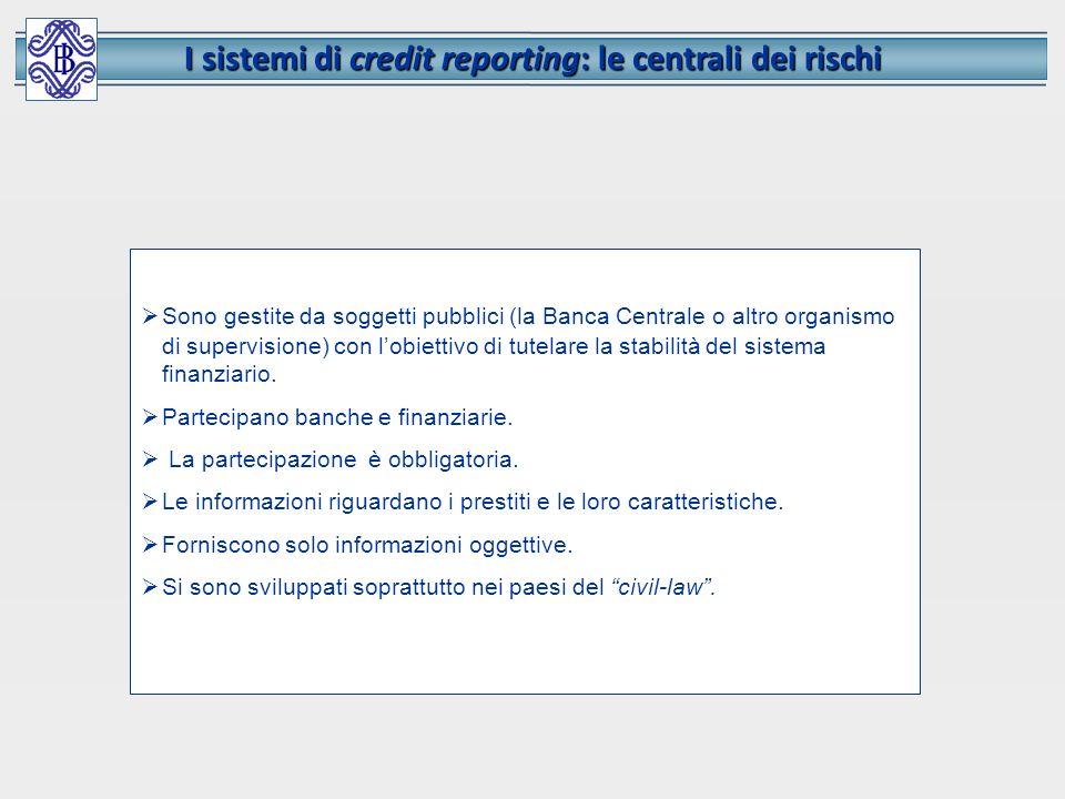 I sistemi di credit reporting: le centrali dei rischi