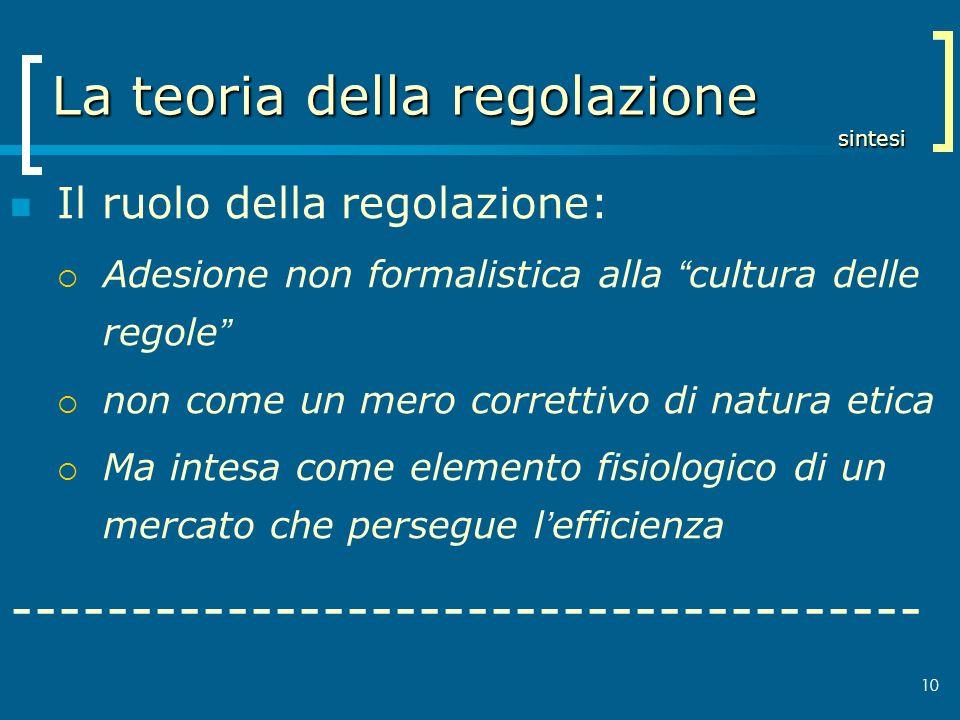 La teoria della regolazione sintesi