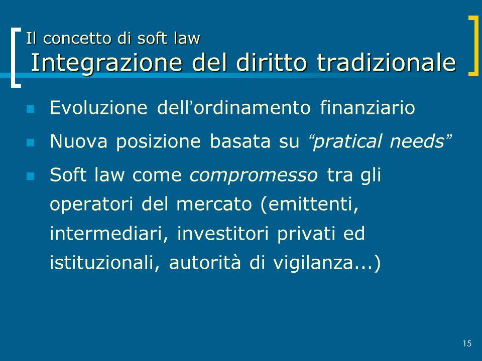 Il concetto di soft law Integrazione del diritto tradizionale