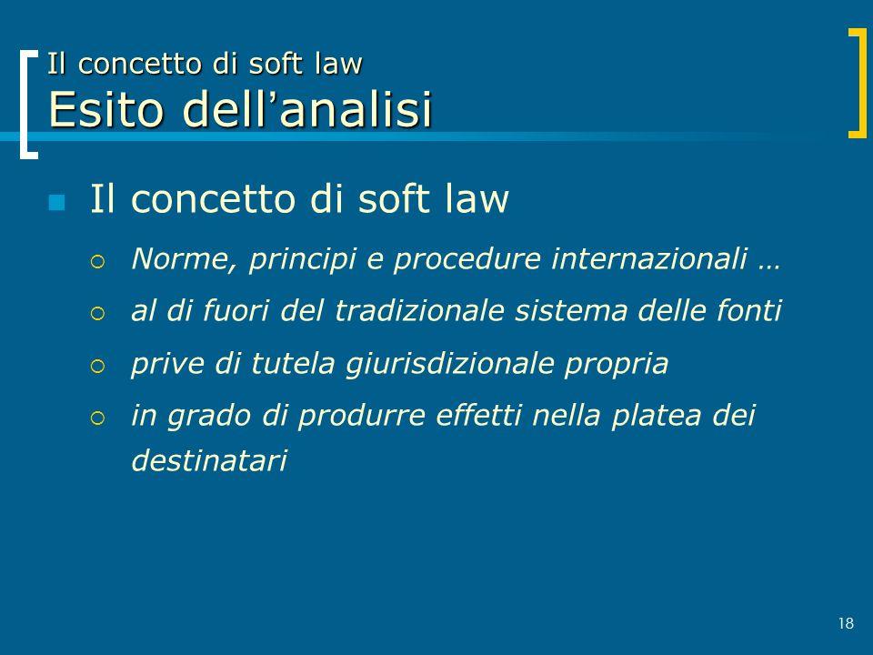 Il concetto di soft law Esito dell'analisi