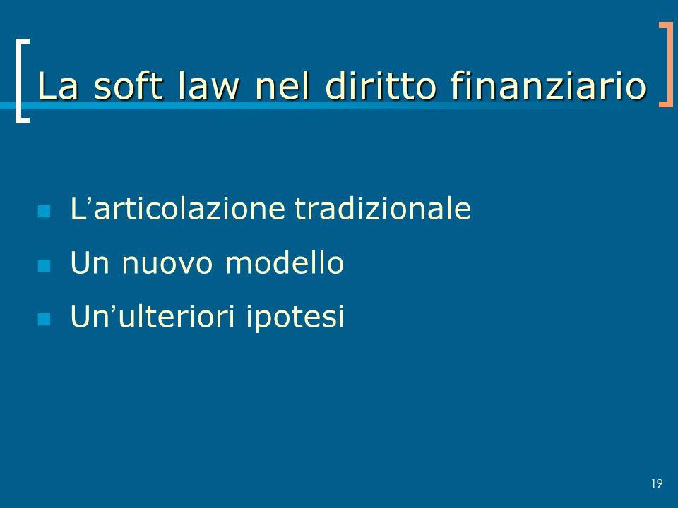 La soft law nel diritto finanziario