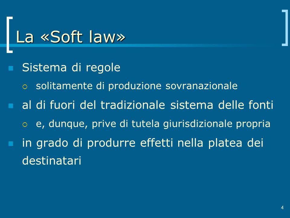 La «Soft law» Sistema di regole