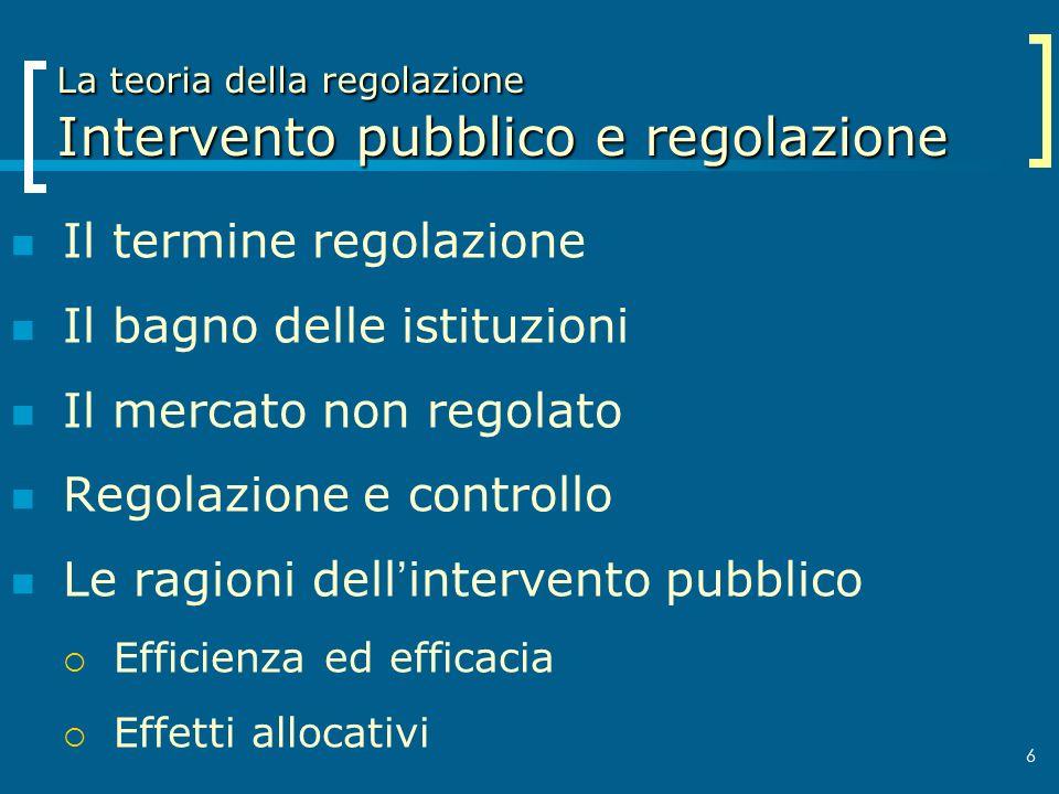La teoria della regolazione Intervento pubblico e regolazione
