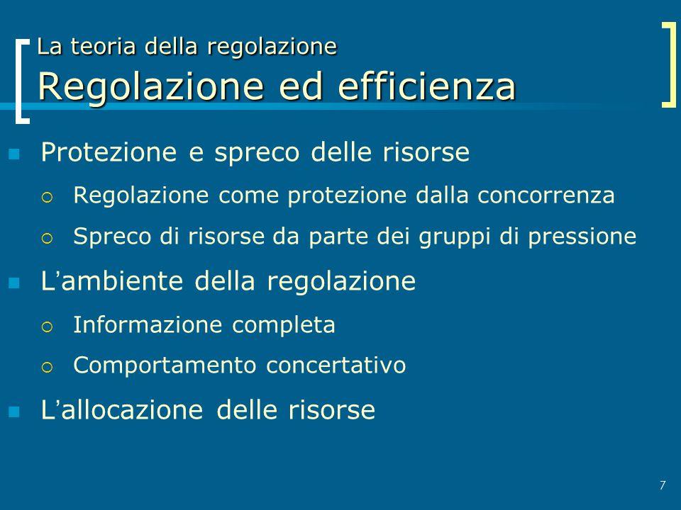 La teoria della regolazione Regolazione ed efficienza