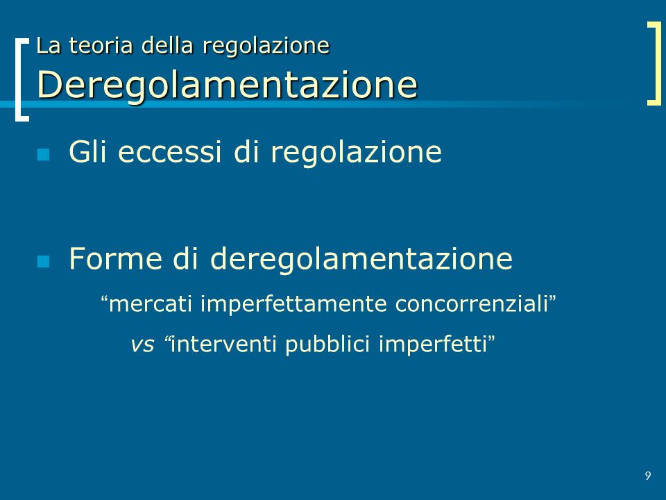 La teoria della regolazione Deregolamentazione
