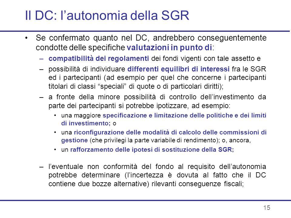 Il DC: l'autonomia della SGR