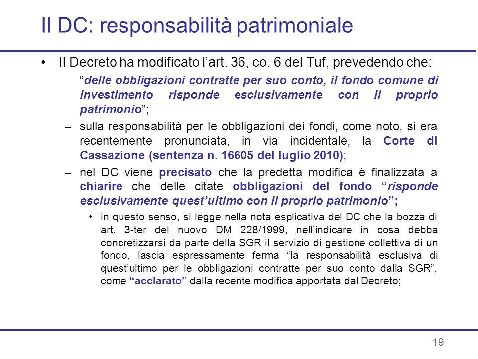 Il DC: responsabilità patrimoniale