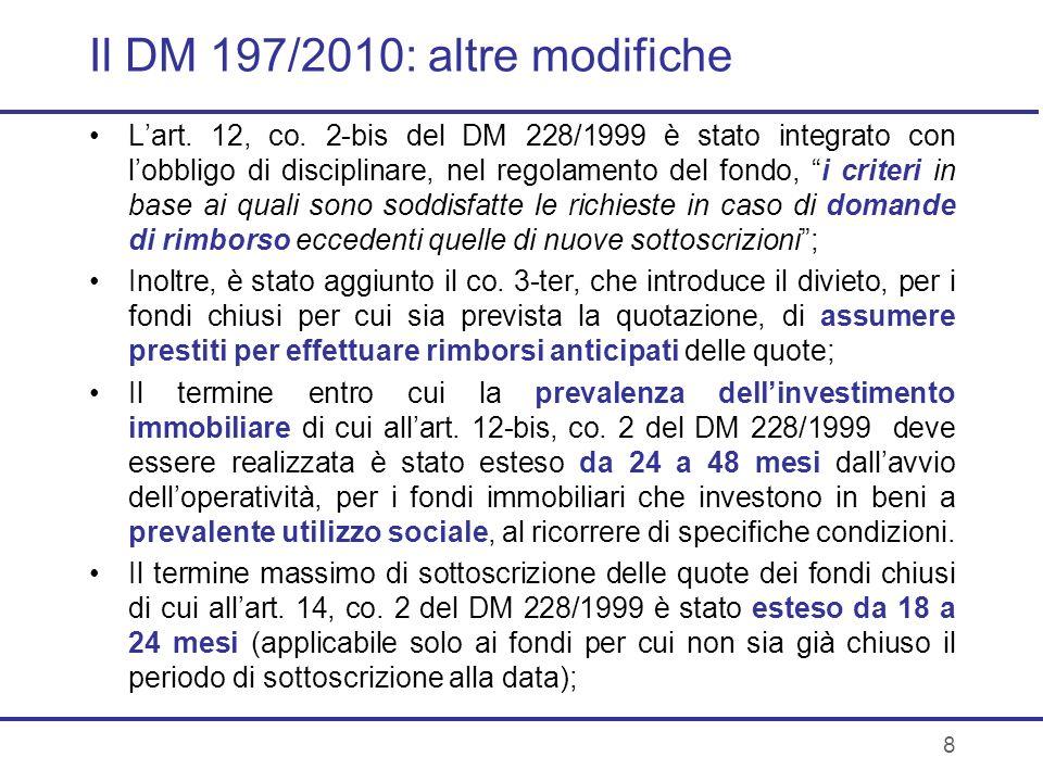 Il DM 197/2010: altre modifiche
