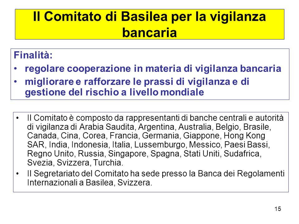 Il Comitato di Basilea per la vigilanza bancaria