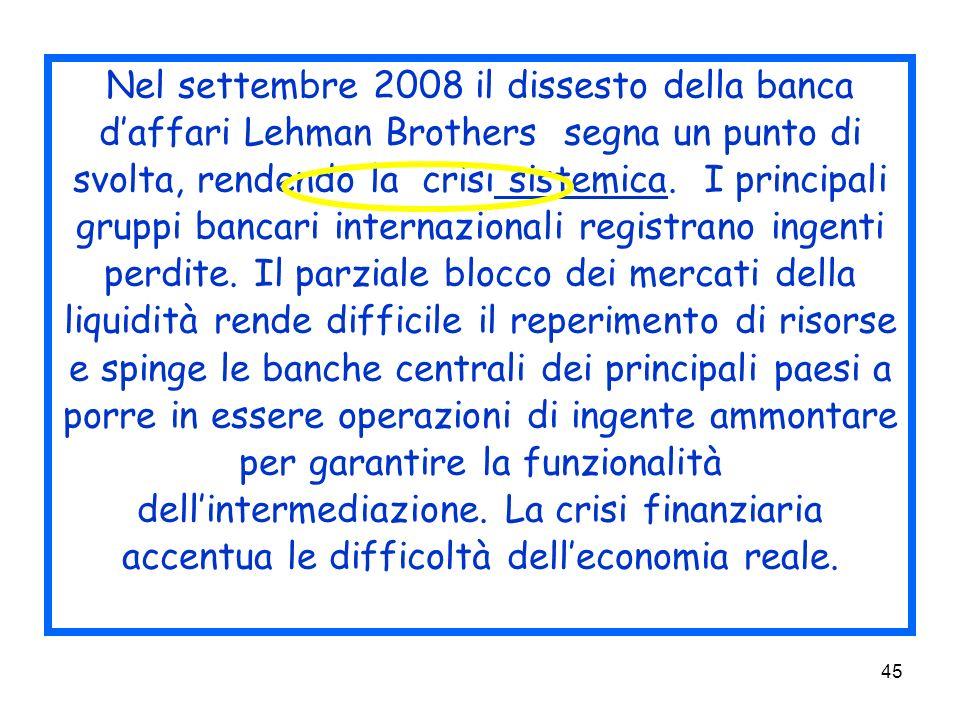 Nel settembre 2008 il dissesto della banca d'affari Lehman Brothers segna un punto di svolta, rendendo la crisi sistemica.