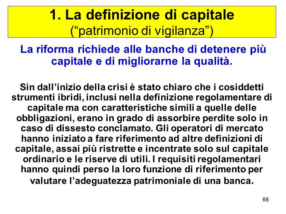 1. La definizione di capitale ( patrimonio di vigilanza )