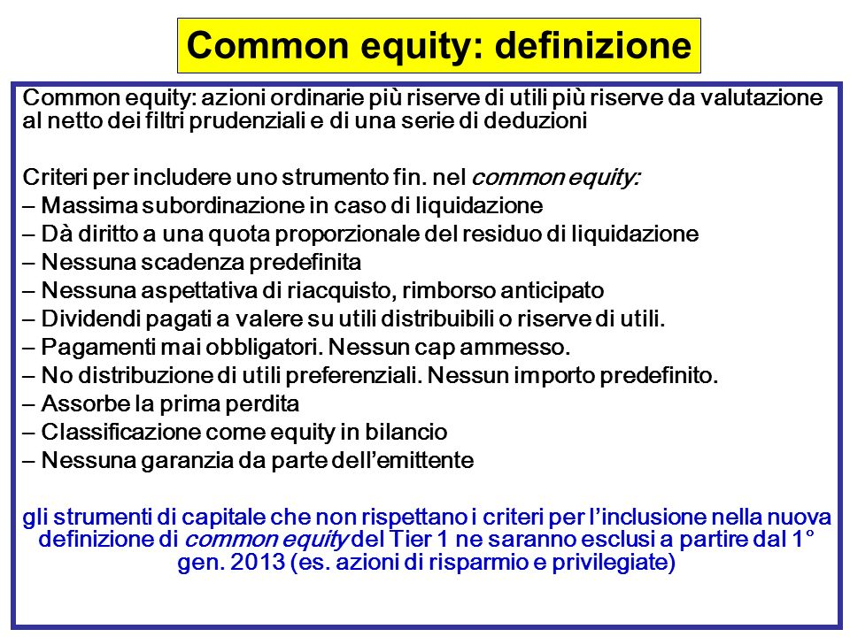 Common equity: definizione