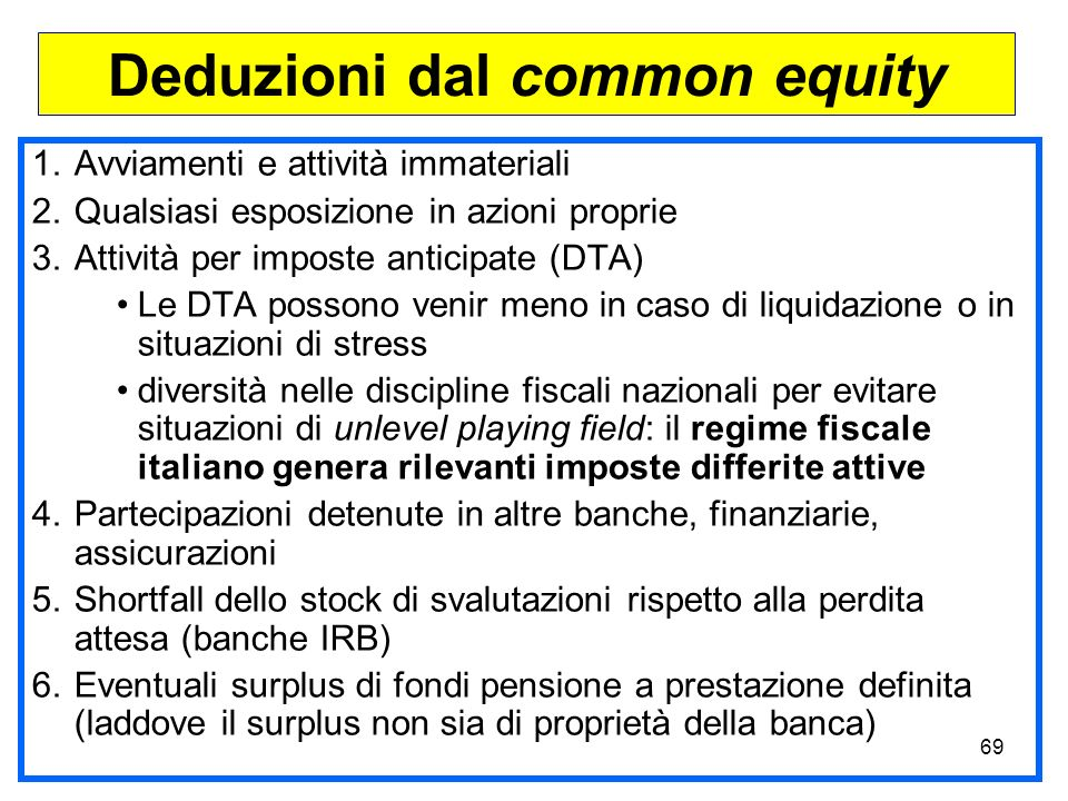 Deduzioni dal common equity
