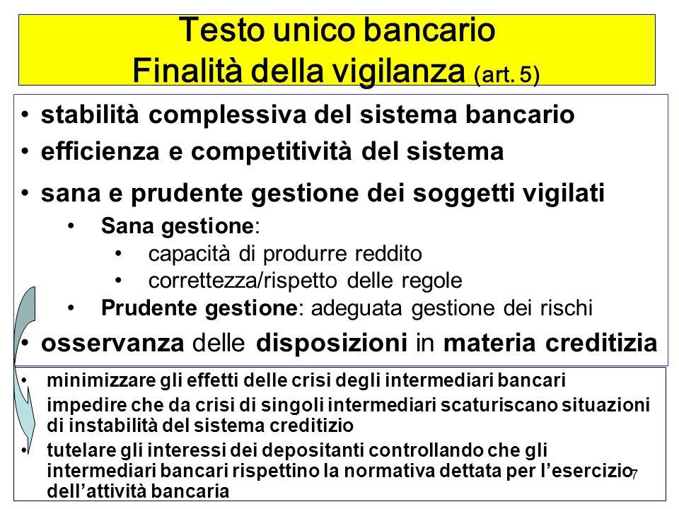 Testo unico bancario Finalità della vigilanza (art. 5)