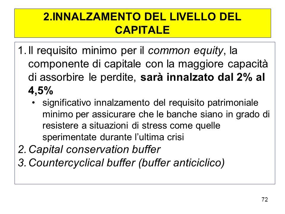 2.INNALZAMENTO DEL LIVELLO DEL CAPITALE