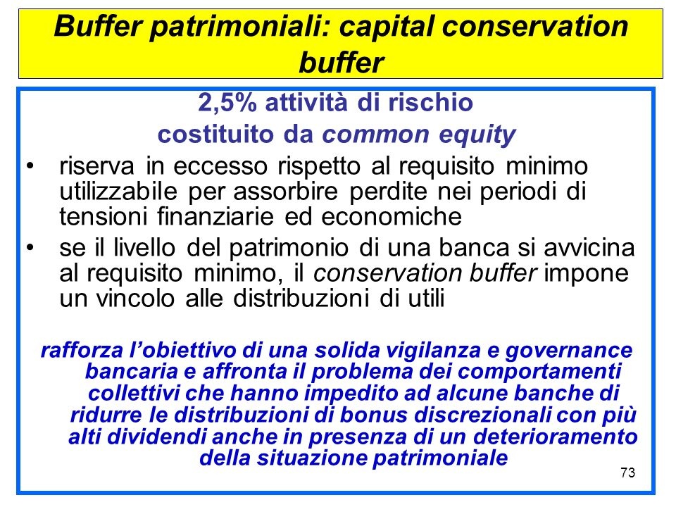 Buffer patrimoniali: capital conservation buffer