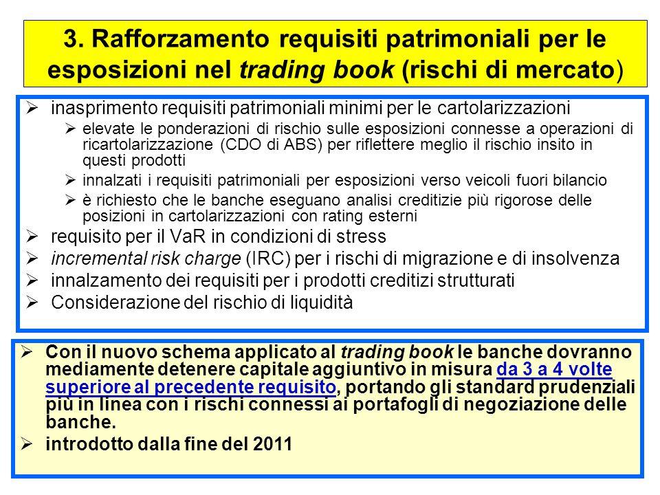 3. Rafforzamento requisiti patrimoniali per le esposizioni nel trading book (rischi di mercato)