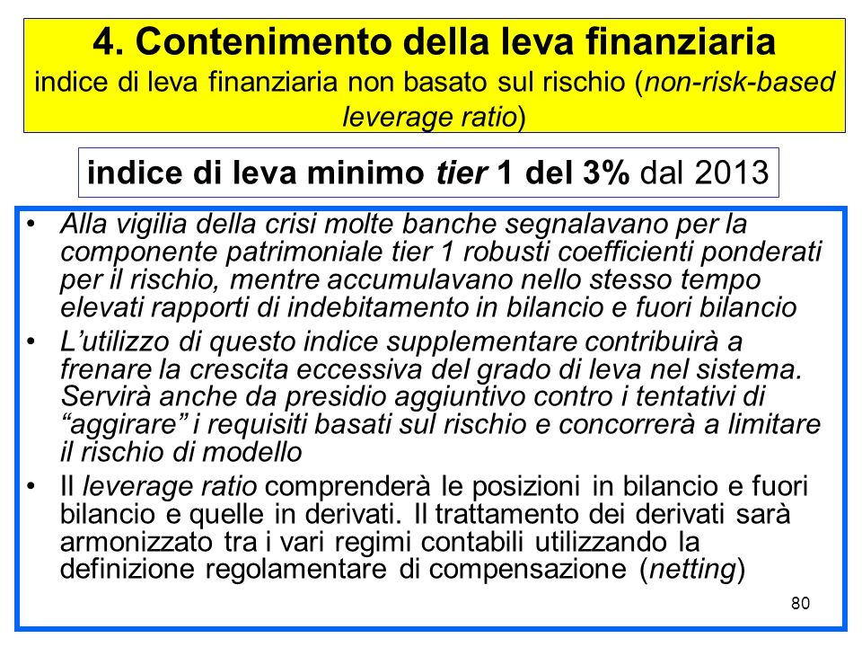 4. Contenimento della leva finanziaria indice di leva finanziaria non basato sul rischio (non-risk-based leverage ratio)