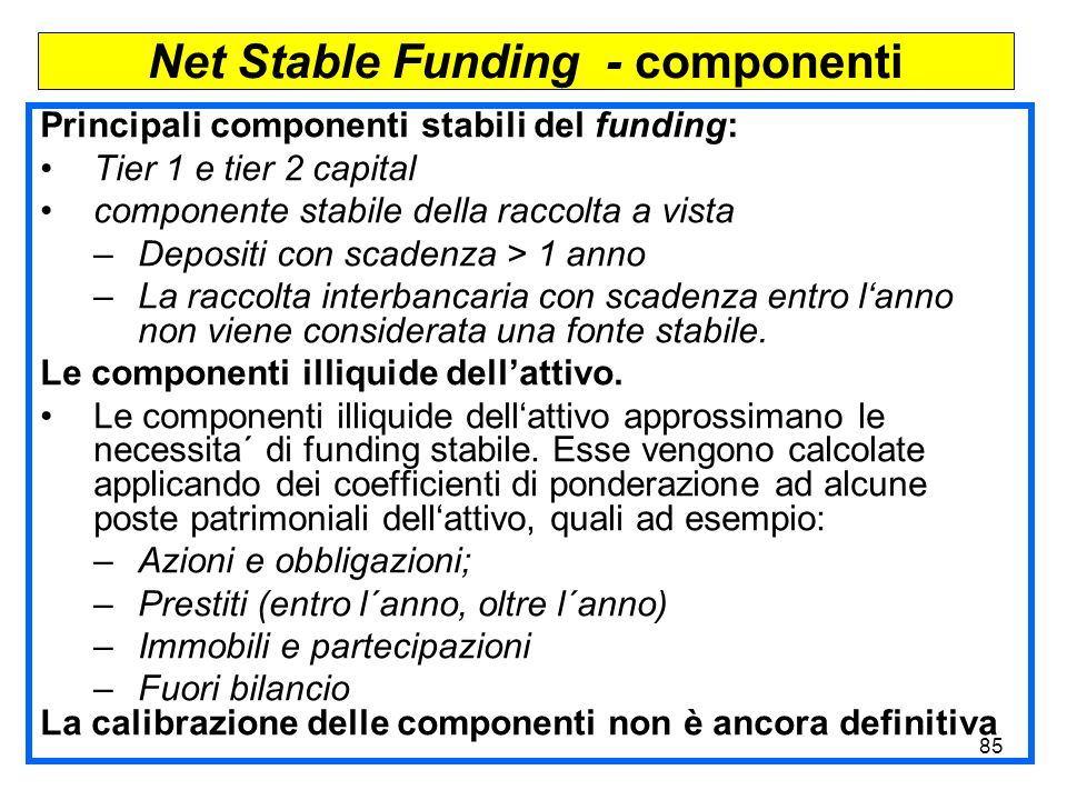 Net Stable Funding - componenti