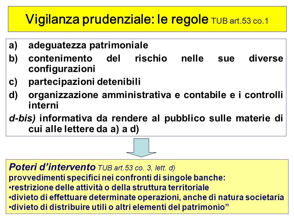 Vigilanza prudenziale: le regole TUB art.53 co.1
