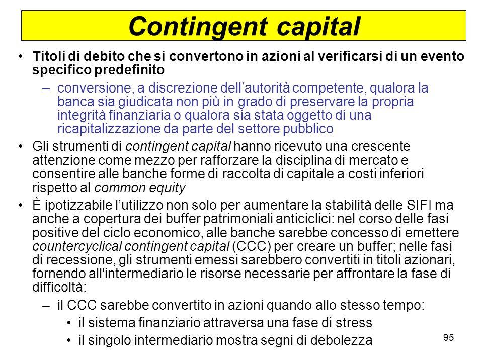Contingent capital Titoli di debito che si convertono in azioni al verificarsi di un evento specifico predefinito.