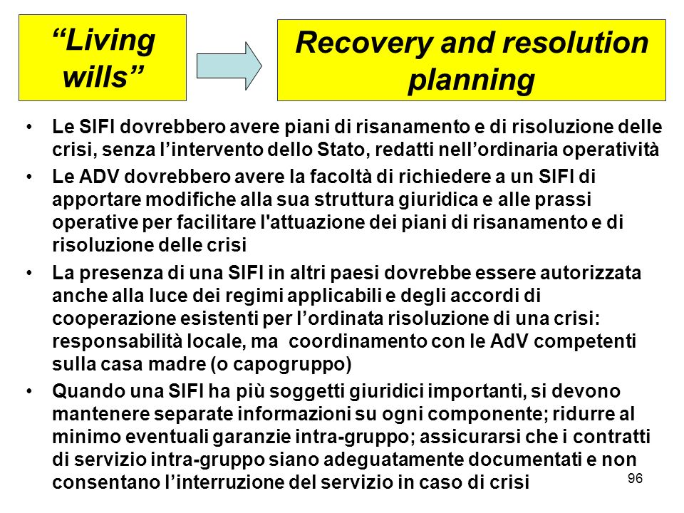 Recovery and resolution planning