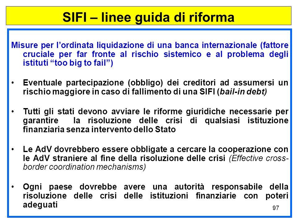 SIFI – linee guida di riforma