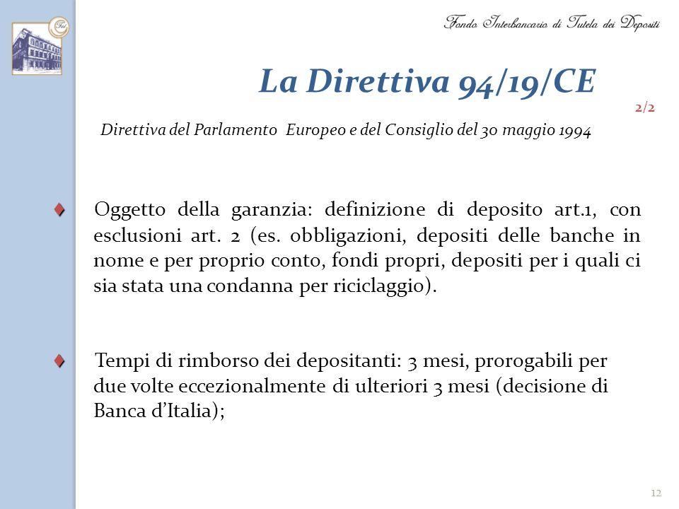 La Direttiva 94/19/CE 2/2. Direttiva del Parlamento Europeo e del Consiglio del 30 maggio 1994.