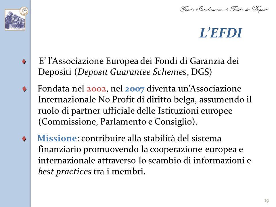 L'EFDI ♦ E' l'Associazione Europea dei Fondi di Garanzia dei Depositi (Deposit Guarantee Schemes, DGS)