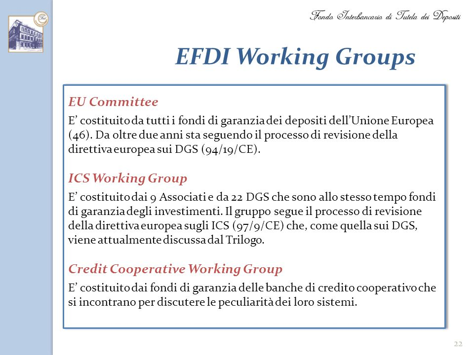EFDI Working Groups EU Committee ICS Working Group