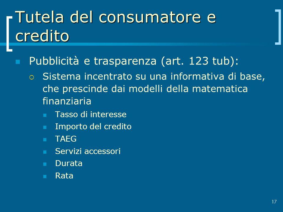 Tutela del consumatore e credito