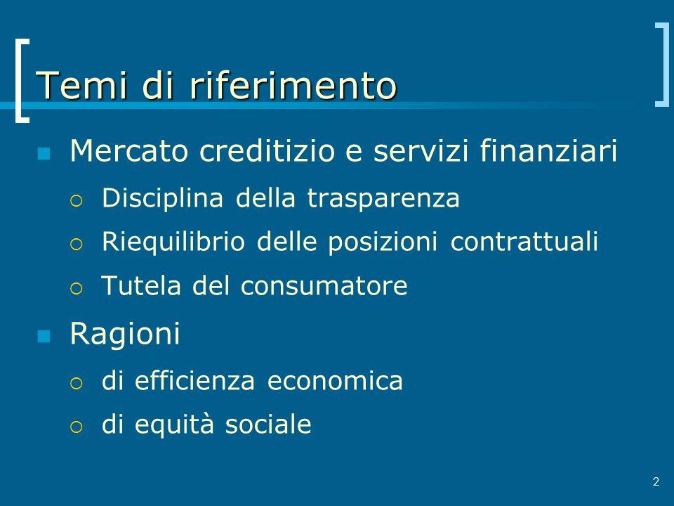 Temi di riferimento Mercato creditizio e servizi finanziari Ragioni
