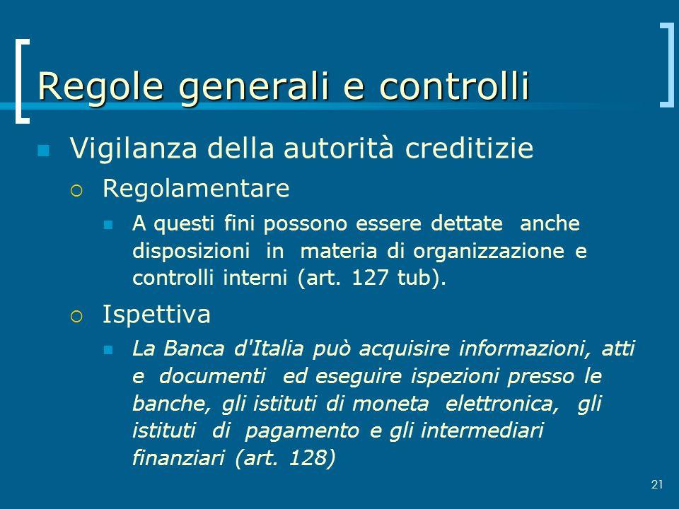Regole generali e controlli