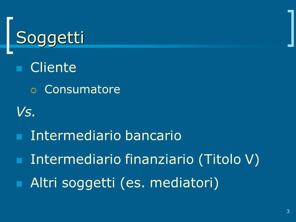 Soggetti Cliente Vs. Intermediario bancario