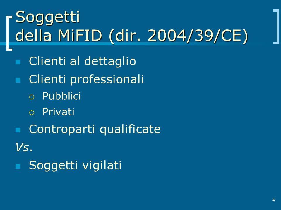 Soggetti della MiFID (dir. 2004/39/CE)