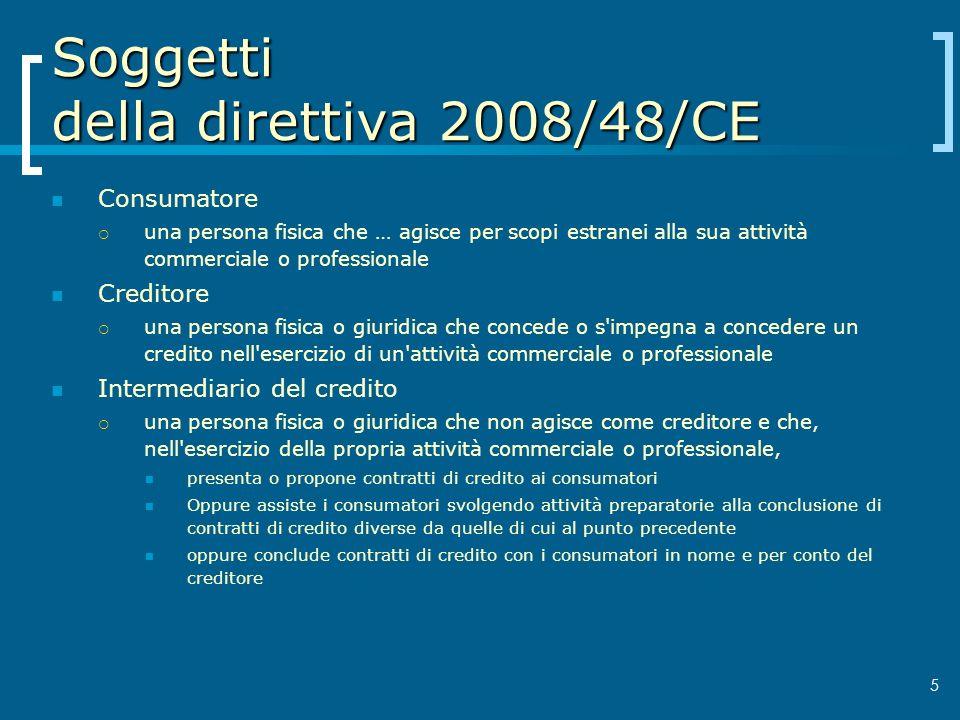 Soggetti della direttiva 2008/48/CE